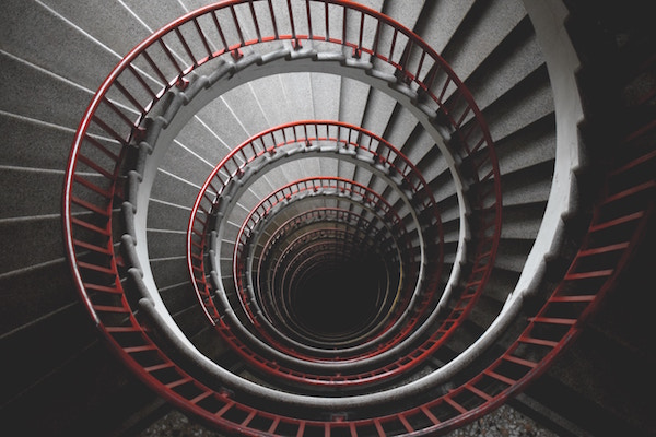 Looking Down A Spiral Staircase